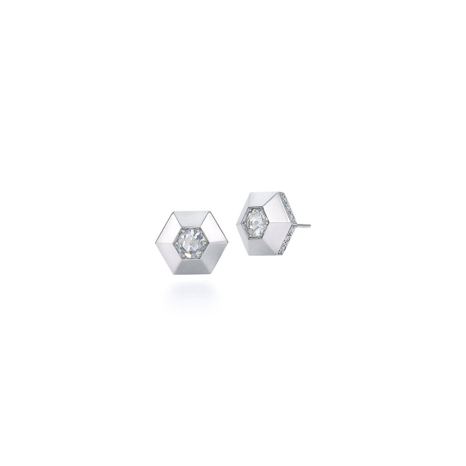 Signed Fred Leighton Hexagonal Diamond And Platinum Stud Earrings